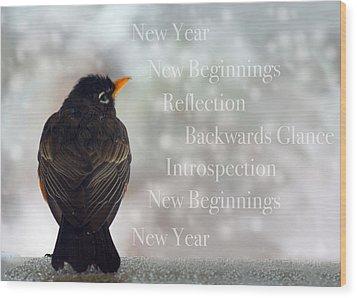 New Years Card Wood Print by Lisa Knechtel