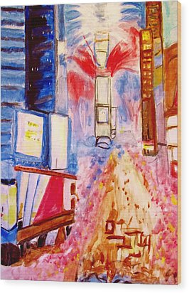 New Years Eve In Times Square Wood Print