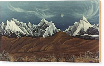 Wood Print featuring the painting New Years Moon Over Cojata Peru by Anastasia Savage Ealy