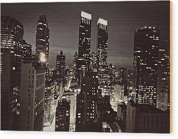 New York After Dark Wood Print by Ariane Moshayedi