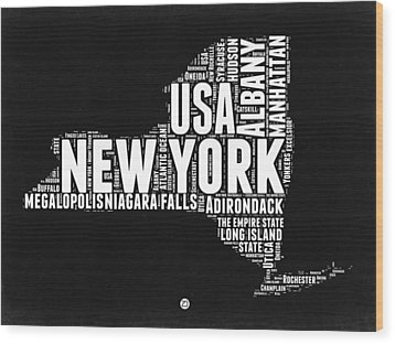 New York Black And White Word Cloud Map Wood Print by Naxart Studio