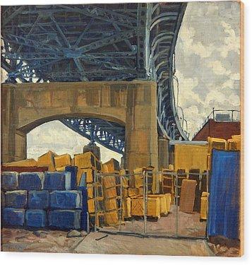 New York Blue Wood Print by Thor Wickstrom