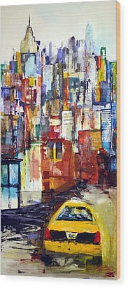 New York Cab Wood Print