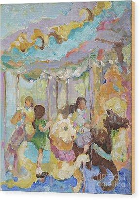 New York Carousel Wood Print