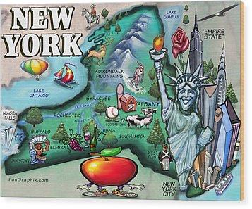 New York Cartoon Map Wood Print