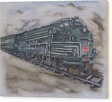 New York Central Train Wood Print by Kelly Mills