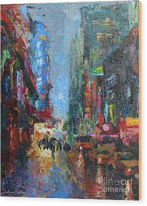 New York City 42nd Street Painting Wood Print by Svetlana Novikova