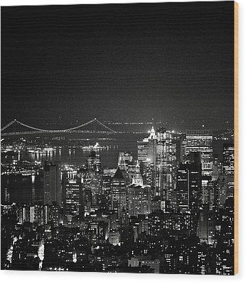 New York City At Night Wood Print by Image - Natasha Maiolo
