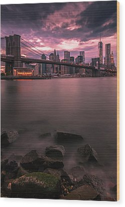 New York City Brooklyn Bridge Sunset Wood Print