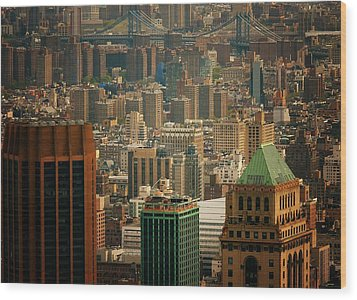 New York City Buildings And Skyline Wood Print by Vivienne Gucwa