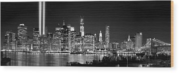 New York City Bw Tribute In Lights And Lower Manhattan At Night Black And White Nyc Wood Print by Jon Holiday