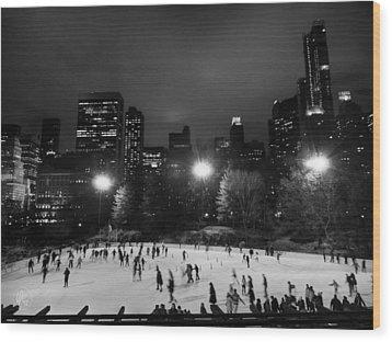 New York City - Central Park 005 Bw Wood Print by Lance Vaughn