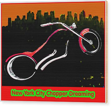 New York City Chopper Dreaming Red Jgibney The Museum Zazzle Gifts Fa Wood Print by The MUSEUM Artist Series jGibney