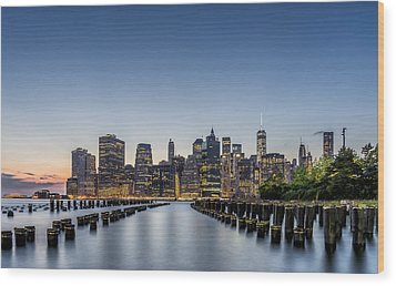 New York City Dusk Wood Print by Rafael Quirindongo
