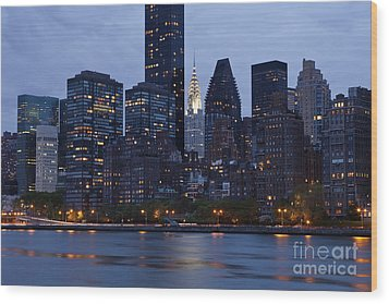 New York City From Across The Water Wood Print by Bryan Mullennix
