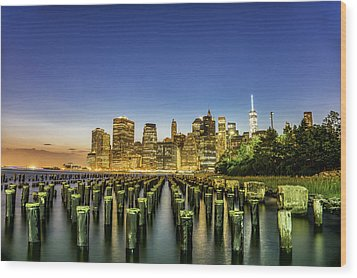 New York City From Brooklyn Wood Print