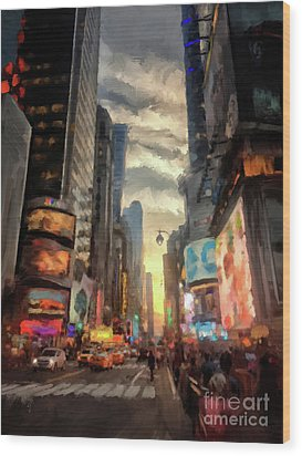 Wood Print featuring the photograph New York City Lights by Lois Bryan