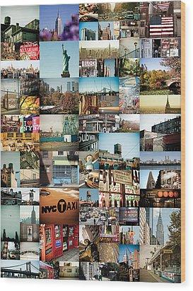 New York City Montage 2 Wood Print by Darren Martin