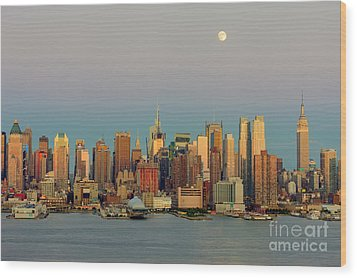 New York City Moonrise I Wood Print by Clarence Holmes