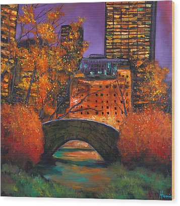 New York City Night Autumn Wood Print by Johnathan Harris