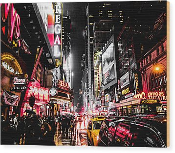 Wood Print featuring the photograph New York City Night II by Nicklas Gustafsson