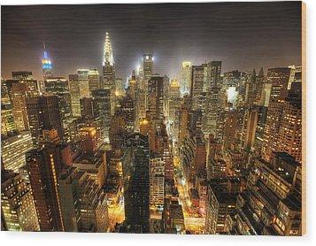 New York City Night Wood Print by Shawn Everhart