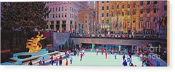 Wood Print featuring the photograph  New York City Rockefeller Center Ice Rink  by Tom Jelen