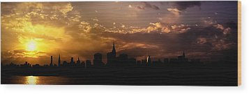 New York City Skyline At Sunset Panorama Wood Print by Vivienne Gucwa