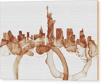 New York City Skyline - Coffee  Wood Print