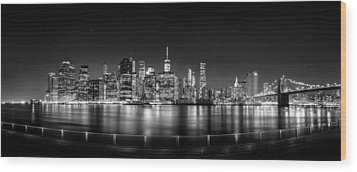 New York City Skyline Panorama At Night Bw Wood Print by Az Jackson