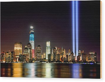 New York City Skyline Tribute In Lights And Lower Manhattan At Night Nyc Wood Print by Jon Holiday