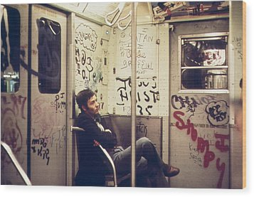 New York City Subway. A Lone Passenger Wood Print by Everett