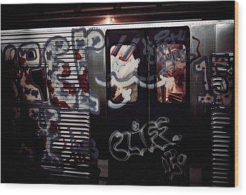 New York City Subway. A Subway Car Wood Print by Everett