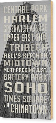 New York City Subway Stops Flat Iron Building Wood Print by Edward Fielding