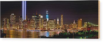 New York City Tribute In Lights And Lower Manhattan At Night Nyc Wood Print by Jon Holiday
