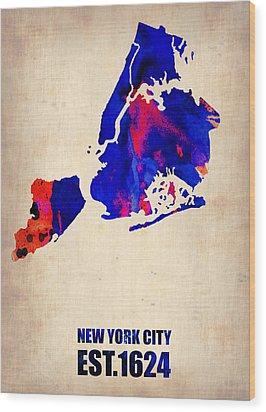 New York City Watercolor Map 1 Wood Print by Naxart Studio