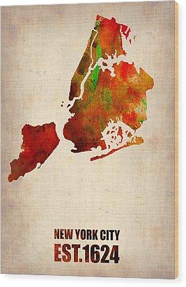 New York City Watercolor Map 2 Wood Print by Naxart Studio