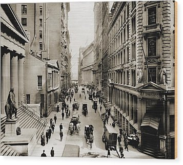 New York Citys Wall Street, Looking Wood Print by Everett