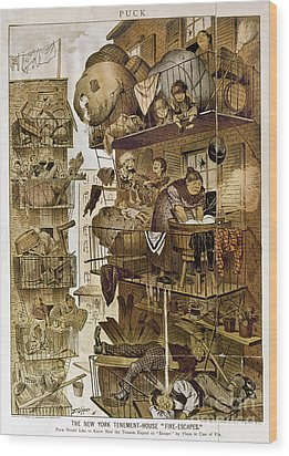 New York: Fire Escapes Wood Print by Granger