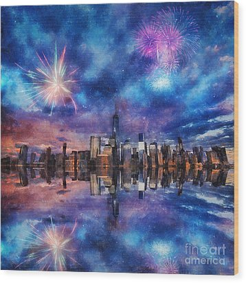 Wood Print featuring the photograph New York Fireworks by Ian Mitchell