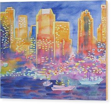 New York Great City Silhouettes.2007 Wood Print by Natalia Piacheva