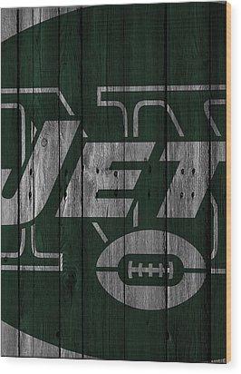 New York Jets Wood Fence Wood Print by Joe Hamilton