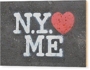 New York Loves Me Stencil Wood Print