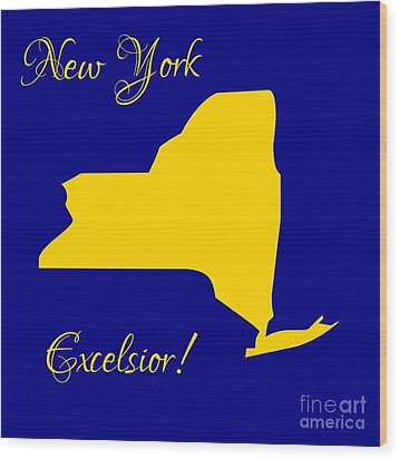 New York Map In State Colors Blue And Gold With State Motto Excelsior Wood Print by Rose Santuci-Sofranko