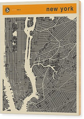 New York Map Wood Print by Jazzberry Blue