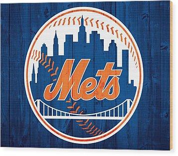 New York Mets Barn Door Wood Print