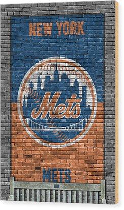 New York Mets Brick Wall Wood Print