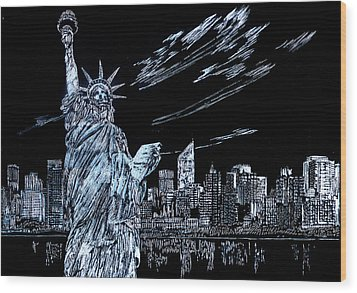 New York New York New York  Wood Print by Saad Hasnain