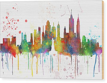 New York Ny Skyline Wood Print by Marlene Watson