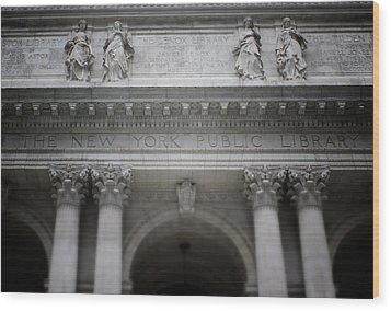 Wood Print featuring the mixed media New York Public Library- Art By Linda Woods by Linda Woods